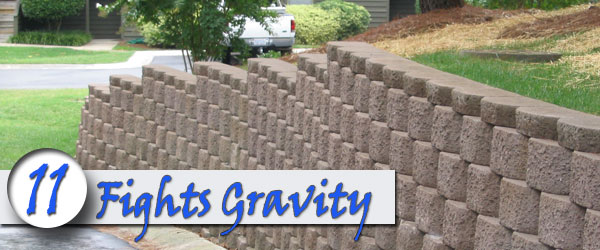 brick retaining wall fights Gravity