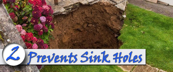 brick retaining wall prevents sink holes